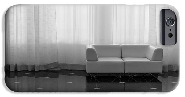 Furniture iPhone Cases - Modern Design Sofa and Large Curtains iPhone Case by John Williams