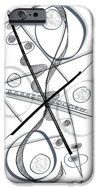 Contemporary Abstract iPhone Cases - Modern Drawing Forty-Eight iPhone Case by Lynne Taetzsch