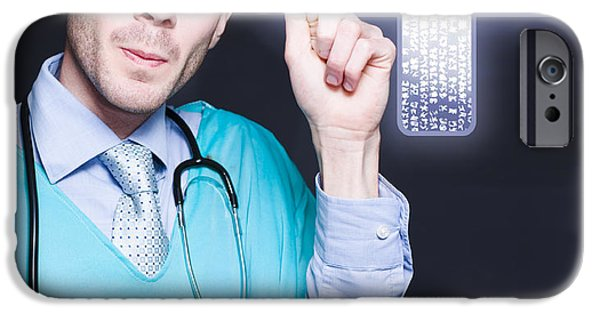 Virtual iPhone Cases - Modern Male Doctor Pressing Digital Cross Button iPhone Case by Ryan Jorgensen