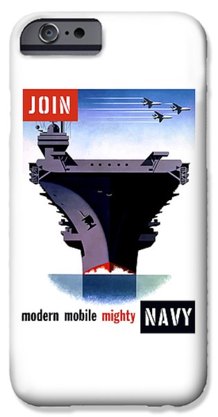 Navy iPhone Cases - Modern Mobile Mighty Navy iPhone Case by War Is Hell Store