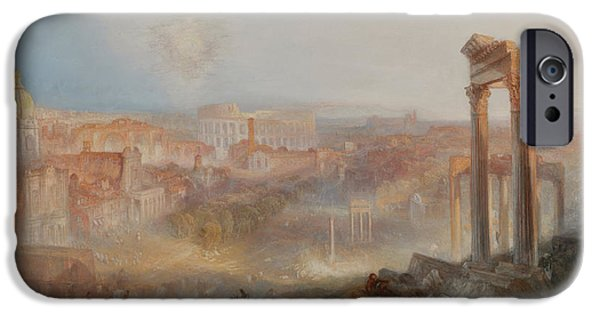 Nature Study Paintings iPhone Cases - Modern Rome Campo Vaccino iPhone Case by William Turner