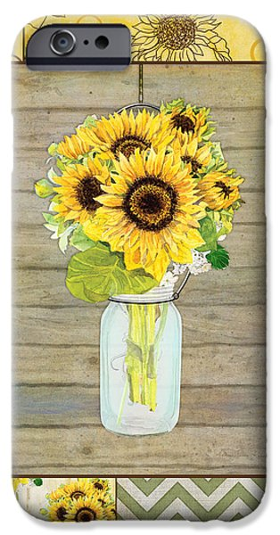 Barns Mixed Media iPhone Cases - Modern Rustic Country Sunflowers in Mason Jar iPhone Case by Audrey Jeanne Roberts