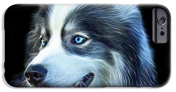 Huskies iPhone Cases - Modern Siberian Husky Dog Art - 6024 - BB iPhone Case by James Ahn