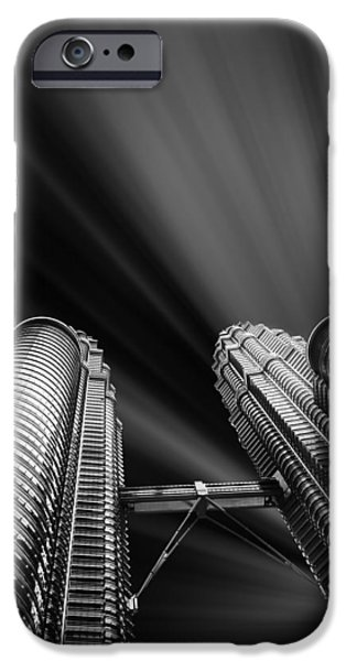 Built Structure iPhone Cases - Modern skyscraper black and white picture iPhone Case by Stefano Senise