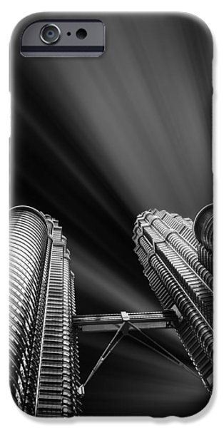 Facade Mixed Media iPhone Cases - Modern skyscraper black and white picture iPhone Case by Stefano Senise
