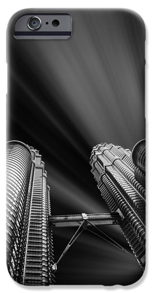 Buildings Mixed Media iPhone Cases - Modern skyscraper black and white picture iPhone Case by Stefano Senise