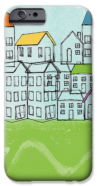 Town iPhone Cases - Modern Village iPhone Case by Linda Woods