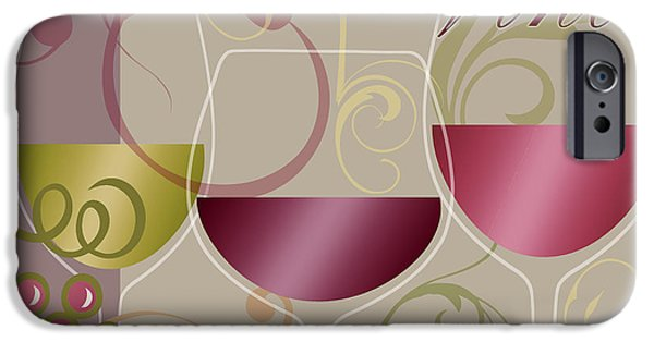 Wine Bottles Paintings iPhone Cases - Modern Wine I iPhone Case by Mindy Sommers