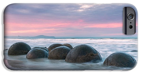 Beach Landscape iPhone Cases - Moeraki boulders at sunset - New Zealand iPhone Case by Matteo Colombo