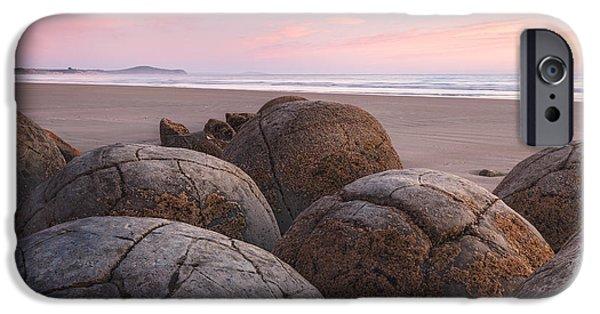 Beach Landscape iPhone Cases - Moeraki Boulders iPhone Case by Michael Breitung