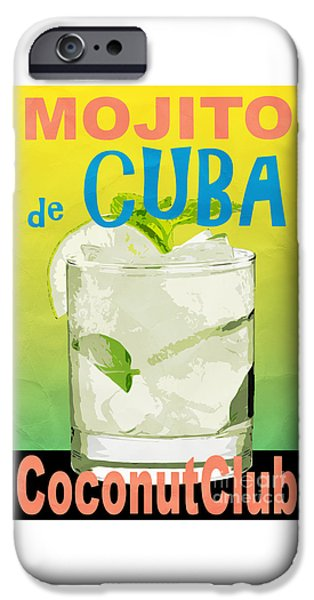 Rally iPhone Cases - Mojito de Cuba Coconut Club iPhone Case by Edward Fielding