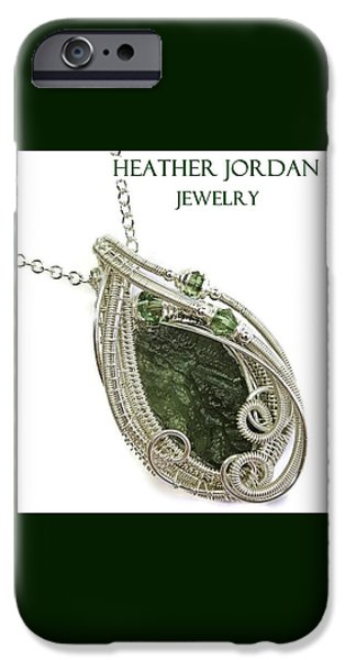 Jordan Jewelry iPhone Cases - Moldavite Swarovski Crystal and Sterling Silver Pendant MLDSS3 iPhone Case by Heather Jordan