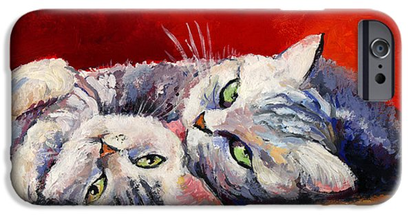 Cat Drawings iPhone Cases - Mom and kitten cat painting iPhone Case by Svetlana Novikova