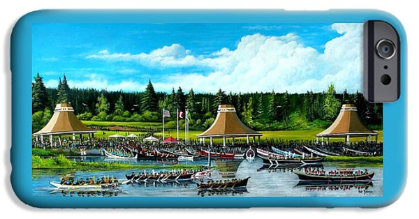 People Tapestries - Textiles iPhone Cases - Moment in Time Canoe Festivall iPhone Case by Bob Patterson