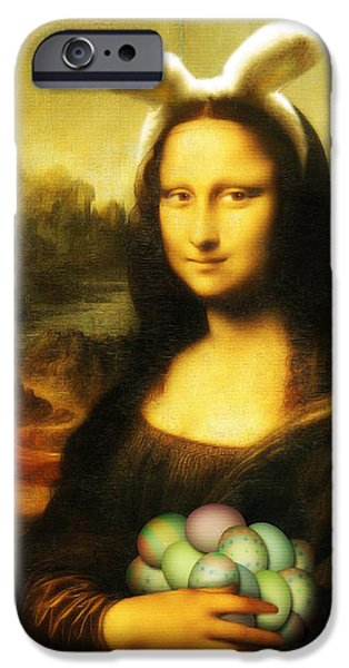 Spoof iPhone Cases - Mona Lisa Easter Bunny iPhone Case by Gravityx9  Designs