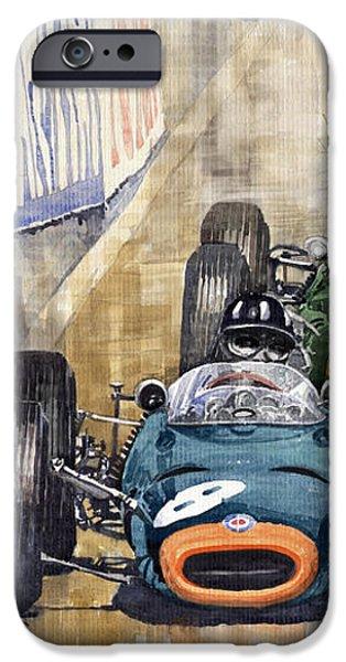 Monaco GP 1964 BRM Brabham Ferrari iPhone Case by Yuriy  Shevchuk