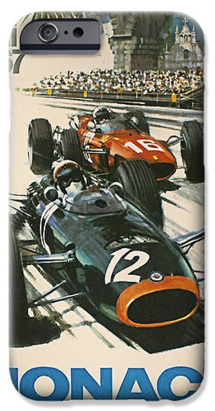 Town iPhone Cases - Monaco Grand Prix 1967 iPhone Case by Nomad Art And  Design