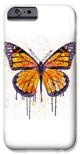 Modern Digital Digital Digital iPhone Cases - Monarch Butterfly watercolor iPhone Case by Marian Voicu