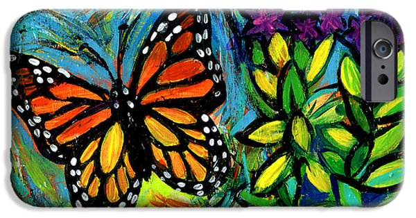 Flight iPhone Cases - Monarch With Milkweed iPhone Case by Genevieve Esson