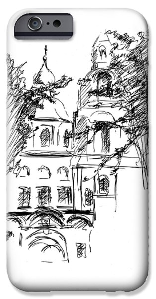 Location Drawings iPhone Cases - Monastery iPhone Case by Masha Batkova