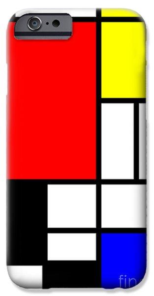 Neo-plasticism iPhone Cases - Mondrian-ITY 1 iPhone Case by Heidi De Leeuw