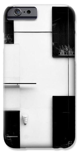 Neo-plasticism iPhone Cases - Mondrianic Fascade - Monochrome iPhone Case by James Aiken