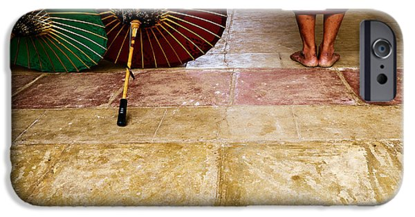 Buddhist iPhone Cases - Monk with Umbrellas iPhone Case by Dean Harte