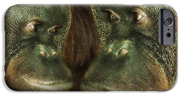 Ape Digital Art iPhone Cases - Monkey Love iPhone Case by Jack Zulli