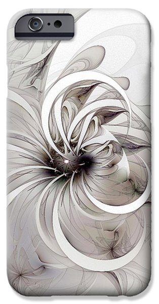 Floral Digital Art Digital Art iPhone Cases - Monochrome flower iPhone Case by Amanda Moore