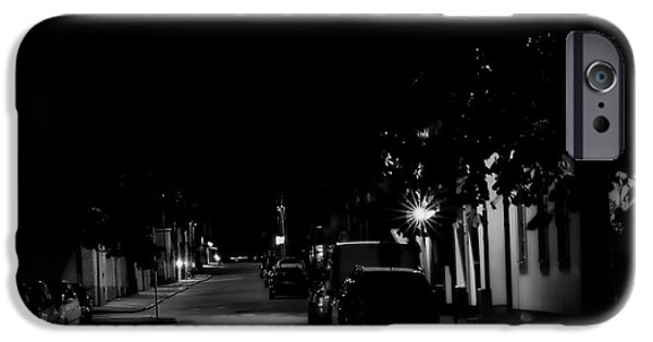 Night Lamp iPhone Cases - Monochrome Night iPhone Case by Leif Sohlman