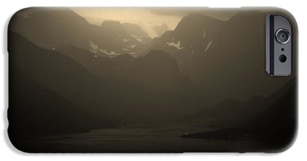 Norway iPhone Cases - Monochrome North Fjords iPhone Case by David Broome