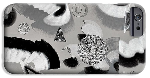 Disc Paintings iPhone Cases - Monochrome iPhone Case by Sumit Mehndiratta