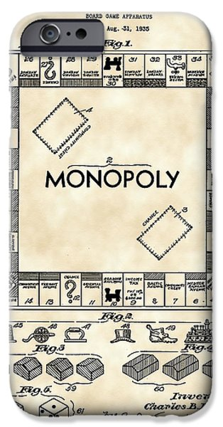 Monopoly iPhone Cases - Monopoly Patent 1935 - Vintage iPhone Case by Stephen Younts