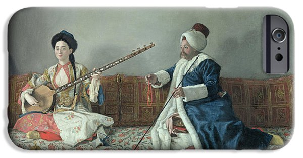 Sit-ins iPhone Cases - Monsieur Levett and Mademoiselle Helene Glavany in Turkish Costumes iPhone Case by Jean Etienne Liotard