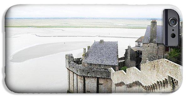 Sand Castles iPhone Cases - Mont Saint Michel Landscape A iPhone Case by Leone M Jennarelli