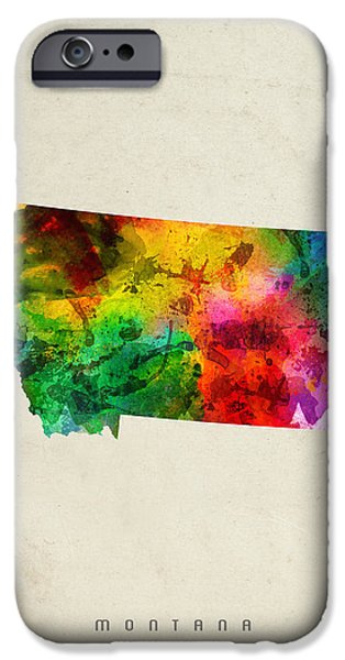 Montana State Map iPhone Cases - Montana State Map 01 iPhone Case by Aged Pixel