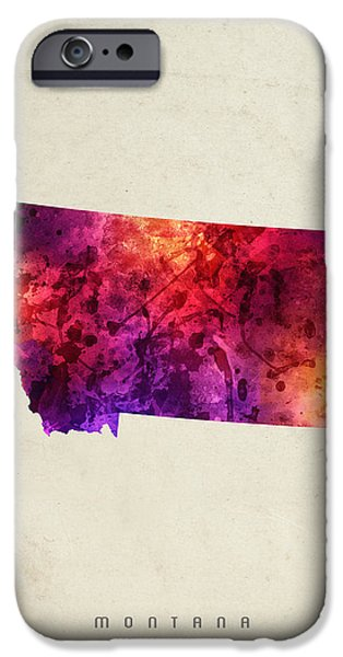 Montana State Map iPhone Cases - Montana State Map 05 iPhone Case by Aged Pixel