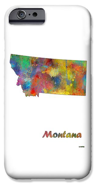 Montana State Map iPhone Cases - Montana State Map iPhone Case by Marlene Watson