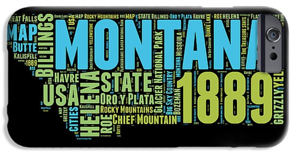 July Mixed Media iPhone Cases - Montana Word Cloud 1 iPhone Case by Naxart Studio