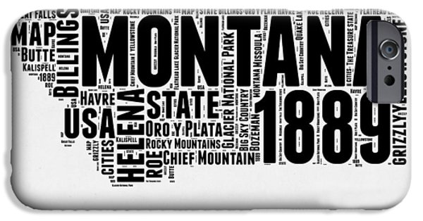 4th July Mixed Media iPhone Cases - Montana Word Cloud 2 iPhone Case by Naxart Studio