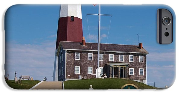 American Flag iPhone Cases - Montauk Point Lighthouse iPhone Case by Christopher James