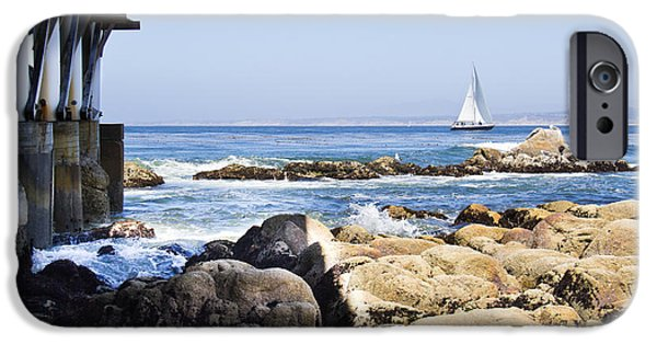Sea iPhone Cases - Monterey pier sailing iPhone Case by Ava Peterson