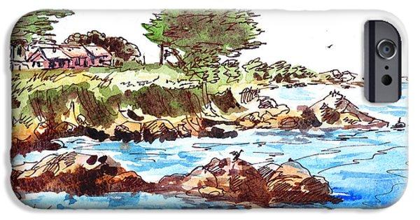 Sailboat Ocean iPhone Cases - Monterey Shore iPhone Case by Irina Sztukowski