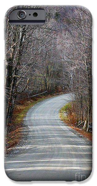 Autumn Road iPhone Cases - Montgomery Mountain Rd. iPhone Case by Deborah Benoit