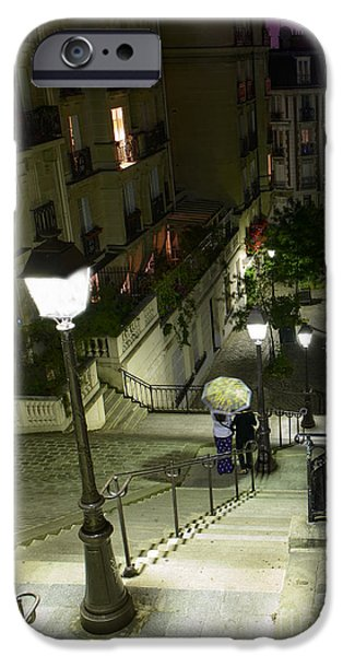 Night Lamp iPhone Cases - Montmartre Paris France in colors iPhone Case by World Art Photography