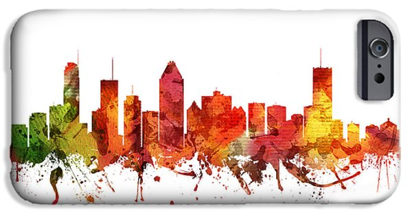 Colour Drawings iPhone Cases - Montreal Cityscape 04 iPhone Case by Aged Pixel
