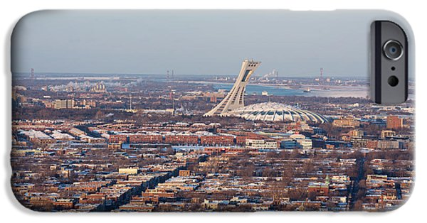 Business Photographs iPhone Cases - Montreal cityscape with Olympic Stadium iPhone Case by Jane Rix