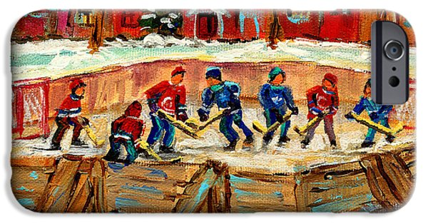 Montreal Winter Scenes Paintings iPhone Cases - Montreal Hockey Rinks Urban Scene iPhone Case by Carole Spandau