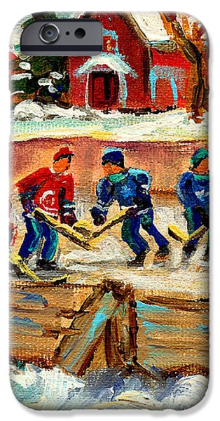 MONTREAL HOCKEY RINKS URBAN SCENE iPhone Case by CAROLE SPANDAU