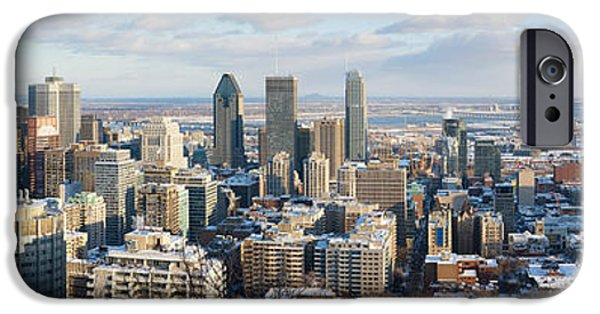 Montreal iPhone Cases - Montreal in winter panorama iPhone Case by Jane Rix